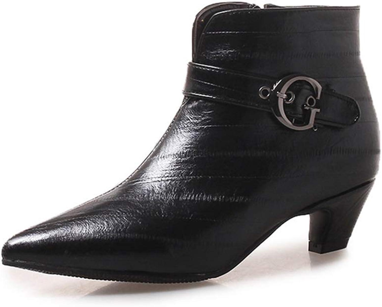 GIY Women's Fashion Buckle Pointy Toe Ankle Boots Stiletto Low Heel Zipper Chelsea Western Short Booties