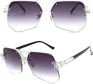 LUKEEXIN Women's Fashion Sunglasses, Transparent Flat Eyewear (Color : Grey)