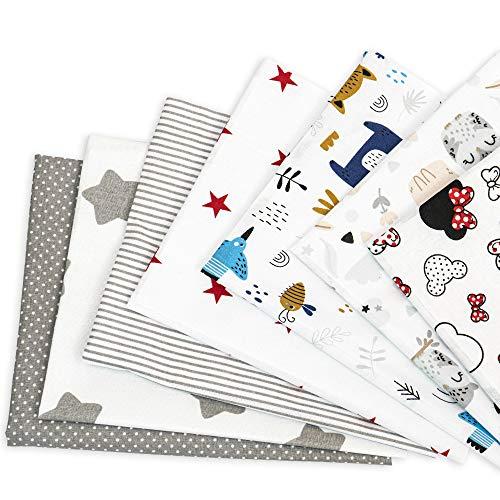 Tela algodon Telas Patchwork 7 piezas 50 x 80 cm - Retales Tela para coser, Telas decorativas Costura y Manualidades por metros OEKO-TEX (Multicolore 3, 7 piezas 50 x 80 cm)