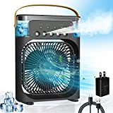 Portable Air Conditioner Fan,Personal Mini Small Evaporative Air Cooler with AC adapter,Desktop Cool Humidifier with 7 Colors LED Light,1/2/3 H Timer,3 Speeds & 3 Spray for Room Office Home Travel