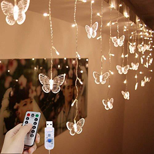 LED-Lichterkette mit USB-Sternen-Motiv, 1,5 m x 0,5 m, 8 Modi, Fernbedienung, Sterne, Lichterkette für Hochzeit, Schlafzimmer, Party, Fenster, Heimdekoration