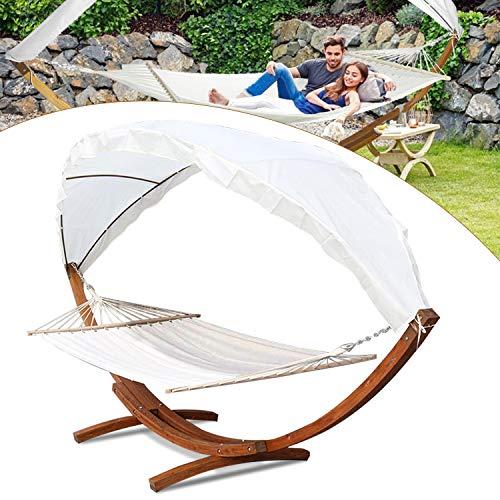 Hengda® Hängematte mit Gestell Hängemattengestell Hängematten Holz +Dach bis 200kg für Garten, Terrasse und Haus 415cm