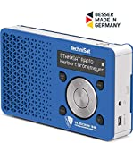 TechniSat Digitradio 1 VfL Bochum-Edition DAB Radio (klein, tragbar, mit Lautsprecher, DAB+, UKW, Favoritenspeicher, OLED-Display, 1 Watt RMS) blau/silber