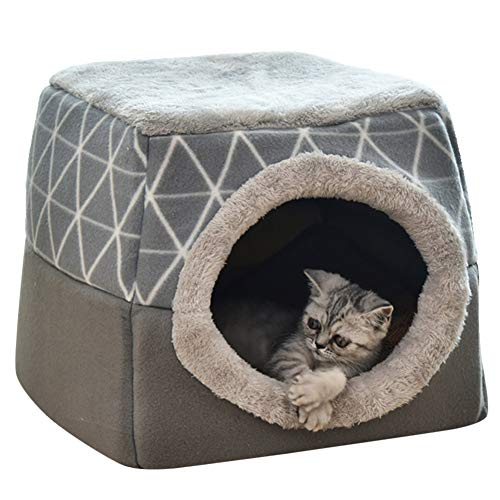 KENANLAN Warm Cat Den Bed Tent 2 In 1 Pet House Hideout Cat Cave with Washable Removable Cushion Puppy Basket for Cats Rabbits Puppy, Grey XL