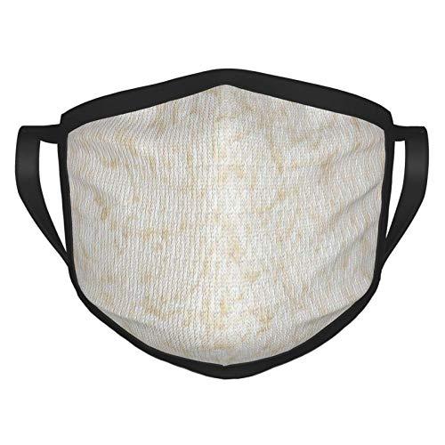 Mesllings Weicher, weißer Teppich mit abstraktem Schafsfell für Erwachsene, schwarzer Rand, tragbarer Gesichtsschutz, Bandana, elastischer Rand, Sturmhaube