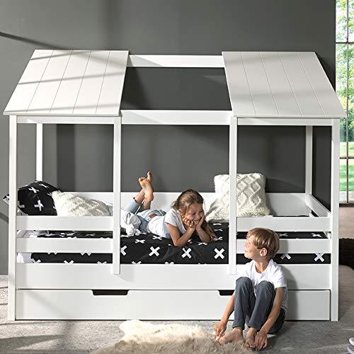 NUEMOBLE, cama cabaña con cajón nido blanco