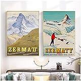 MXIBUN Zermatt Schweiz Matterhorn Print Vintage Ski Poster
