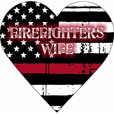Firefighter's Wife Heart Exterior Window Decal Sticker - , 4