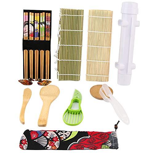 SANGSHI Juego de rodillos de bambú para hacer sushi, incluye 2 esterillas, 1 cuchillo, 2 formas, 5 pares de palillos, utensilios de cocina para principiantes y sushi