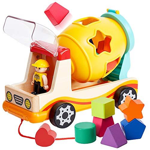 TOP BRIGHT Betonmischer Spielzeug Auto Steckwürfel Steckspiel Sortierwürfel Lernspielzeug ab 1 Jahr Geschenk