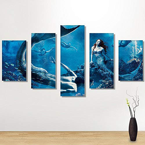 Relovsk Wandkunst Meerjungfrau Gemälde Fünf Verbundene Stücke Raumdekorationen Paste alle Gemälde Hauptdekoration_30x40cmx2 30x60cmx2 30x80cmx1