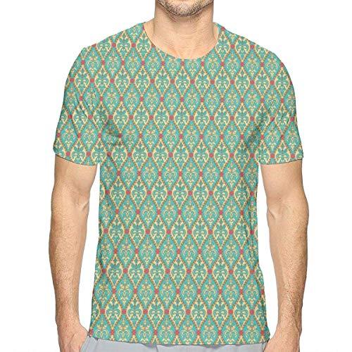 akingstore Camisetas Impresas en 3D, Formas Florales ovaladas Vintage Arreglo de Hojas floreciente ilustración de la Naturaleza