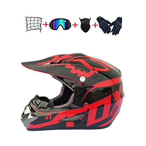 BHGJ Casco Motocross Niño,Diseñado con FOX Cascos De Motocross Cascos de Cross de Moto Set con Gafas/Máscara/Guantes(FOX,rojo) (L)