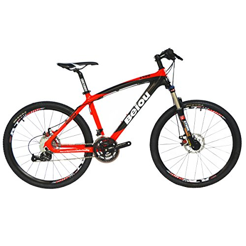 BEIOU Toray T700 Carbon Fiber Mountain Bike Complete Bicycle MTB 27 Speed 26' Wheel S himano ACERA M3000 CB004G19X (Red, 19')