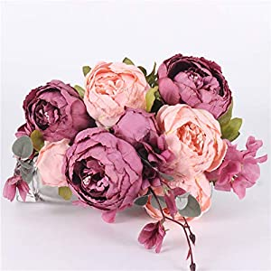 Hight Quality Silk Flower European 1 Bouquet Artificial Flowers Fall Vivid Rose Peony Fake Leaf Wedding Home Party Decoration,C orange and pink