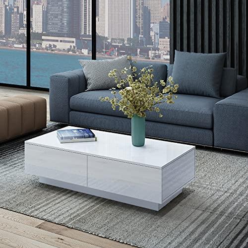 Senvoziii Brillant Table de Salon avec 4 tiroirs de Rangement Table Basse,Moderne Table de canapé pour Le Salon Hôtel 95 x 60 x 31 cm (Blanc)