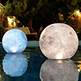 Full Moon Floating Pool Lights - 14' Glow in The Dark Pool Balls IP68 Waterproof and Wind Resistant, Pack of 2 Pool Solar Lights, Party Decor for Outdoor, Easy to Hang