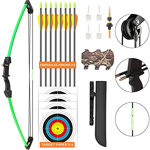 Aimdor Archery Bow and Arrow Set Youth Compound Bow and Arrow Practice Bow Kids Bow Birthday Gift Bow Left and Right Hand Bow Beginner Bow with 8 Arrows and Quiver for Outdoor Play Green