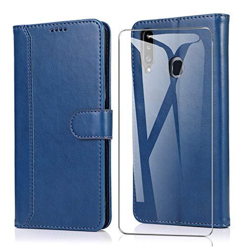 SMYTU für Samsung Galaxy A20s Hülle + mit 1 Pack Panzerglas, Klapphülle Magnetisch Handyhülle Ledertasche Schutzhülle für Samsung Galaxy A20s-Blau
