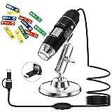 Microscopio Digital USB, Ampliación portátil Mini Pocket Lightswim 50x y 1000x con cámara 1080P 2MP HD, con 8 Luces LED para teléfono Inteligente/Tableta/PC (Nivel de Arranque, NO iPhone/iPad, Negro)