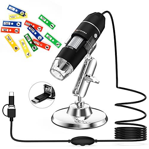 Microscopio digitale USB, ingrandimento palmare Lightswim 50x e 1000x Mini Pocket con fotocamera HD 1080P 2MP, con 8 luci a LED per Smartphone Tablet PC (Livello di avvio, NON iPhone iPad, Nero)