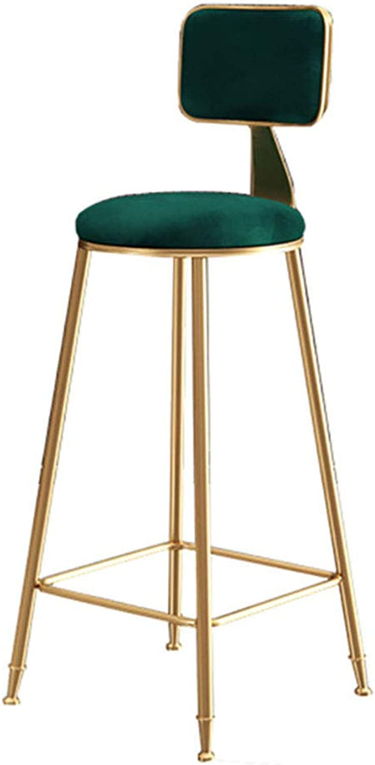 High Stools gold Metal   Barstools with Back Rest for Kitchen  Pink Velvet Cushion Modern Dining Room Chairs  Seat Height 65 75cm