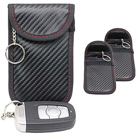 2x Autoschlüssel Tasche Keyless Go Schutz Fob Signalblocker Faraday Tasche Anti Strahlung Abschirmung Brieftasche Fall Für Datenschutz Wifi Gsm Lte Nfc Rfid Rot Schwarz Einweg Auto
