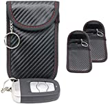 2X Autoschlüssel Tasche Keyless Go Schutz Fob Signalblocker Faraday Tasche Anti-Strahlung Abschirmung Brieftasche Fall für Datenschutz – WiFi, GSM, LTE, NFC & RFID(Rot schwarz)(EINWEG)