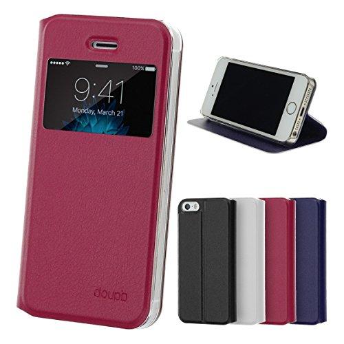 doupi Deluxe Ventana FlipCover para iPhone 5 5S SE, Carcasa Case magnético Funda Caso tirón Estilo Libro Protector de Cuero Artificial, Rojo
