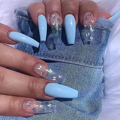 Poliphili 24Pcs Super Long Gradient Press on Removable Wear Fake Nails Ballerina Extra Long Coffin Art Manicure Full Cover Acrylic False Nails Tips for Girls and Women (Blue Butterfly)