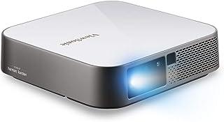 Viewsonic M2E Portabler LED Beamer (Full HD, 1.000 Lumen, Rec. 709, HDMI, USB, USB C, WLAN Konnektivität, Bluetooth, SD Kartenleser, 2X 3 Watt Lautsprecher) Weiß Silber
