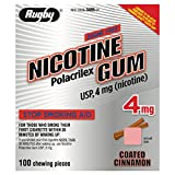 Rugby Nicotine Polacrilex Gum USp, 4mg (nicotine_ Stop Smoking Aid 4 mg 100 coated cinnamon pieces by Rugby