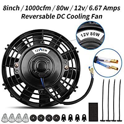 Universal High Performance Reversible 8 Inch Electric Engine Radiator Cooling Fan with Mounting Kit 1000 CFM 12 Volts 6.67 Amps 80 Watts