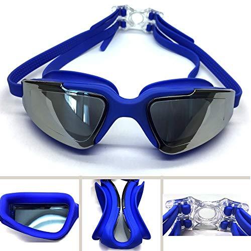 xingguang Gafas de natación Gafas de natación para adultos, hombres, mujeres, jóvenes, protección UV, impermeables, antivaho, gafas de piscina (color azul)