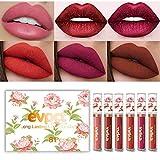 Yelna Makeup Matte Metallic Lipstick Lip Kit, 6PCS Matt Velvet Liquid Lipstick Waterproof Long Lasting Durable Nude Lip Gloss Beauty Cosmetics Gift Set 02