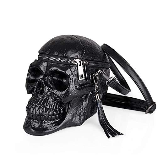 Bolso,cráneo Divertido Creativo 3D Bolso Shopper Mujer,Silicona Negra Bolso Tipo Cartera,Adecuado para El Ocio, Las Citas, El Almacenamiento Al Aire Libre De Objetos Pequeños. (Color : Black)