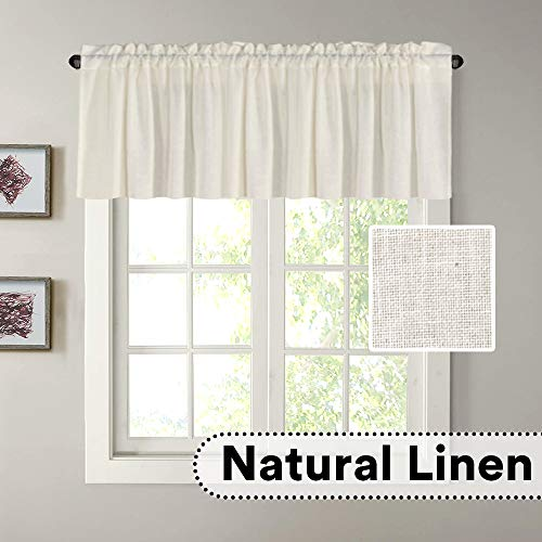 """H.VERSAILTEX Natural Linen Curtain Valances for Kitchen Window/Living Room/Bathroom Privacy Added Rod Pocket Home Decoration Small Curtain, 52"""" W x 18"""" L, Ivory, 1 Panel"""