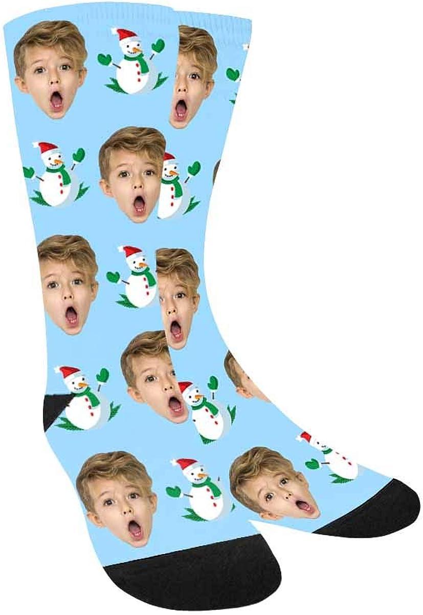 Custom Face on Socks, Christmas Snowman Boys Socks with Personal