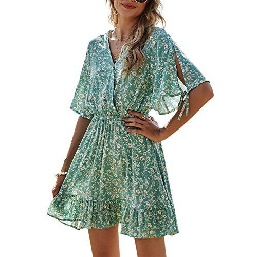 Womens Summer Dresses Short Sleeve V-Neck Floral Ruffle Wrap High Waist Casual Swing Short Mini Dress for Women