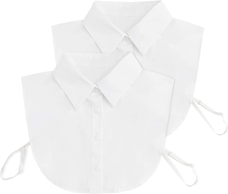 AORAEM Faux Pointed Half Shirts 2Pcs False Collar Without Sleeve Detachable Collar Blouse for Women