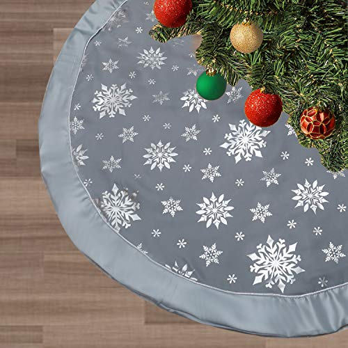 FLASH WORLD Christmas Tree Skirt,48 inches Large Xmas Tree Skirts with Snowy Pattern for Christmas Tree Decorations (Grey—Three Cotton Layer)
