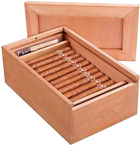 WXking Rauchen Zubehör, Herren Zigarre Zigar Holz Humidor Zigarrenkasten Reise Zigarre Humidor Dekorative Box (Farbe: Holzfarbe, Größe: 33,5 * 21 * 12 cm) (Farbe: Holzfarbe, Größe: 33,5 * 21 * 12 cm)