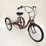 MINUS ONE Dreirad Für Erwachsene Erwachsenen Dreirad Fahrrad Mit 3 Rädern Seniorenrad Lastenfahrrad 24' 6-Gang-Schaltung Shimano mit Licht (Rotes mit Licht)