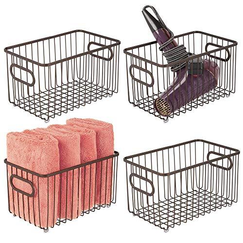 mDesign Juego de 4 cestas de almacenaje en metal con asas integradas – Caja organizadora con atractivo diseño de alambre – Ideal como organizador de baño para cosméticos – color bronce