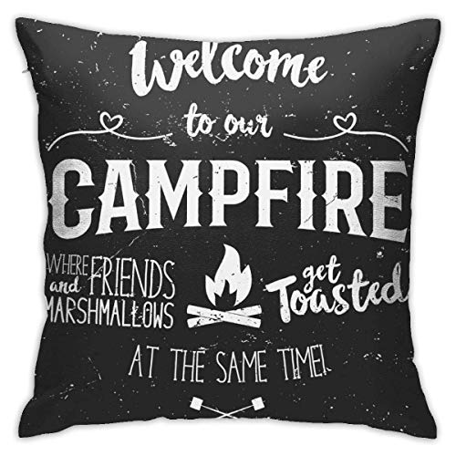 Antvinoler Decorative Throw Pillow Cover, Without Inserts Cushion Case for Home Sofa Bedroom Car Chair House Party Indoor Outdoor 18 X 18 Inch,Vintage Wood Quote Saying Welcome to Campfire Fire Pit