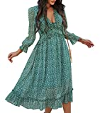 Simplee Women's V Neck Ruffles Floral Printed Long Sleeve Dress High Elastic Waist Flowing Midi Dresses(M Green)