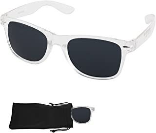 Sunglasses with Plastic Transparent Frames - UV Ray Protected Shades For Men & Women - By Optix 55