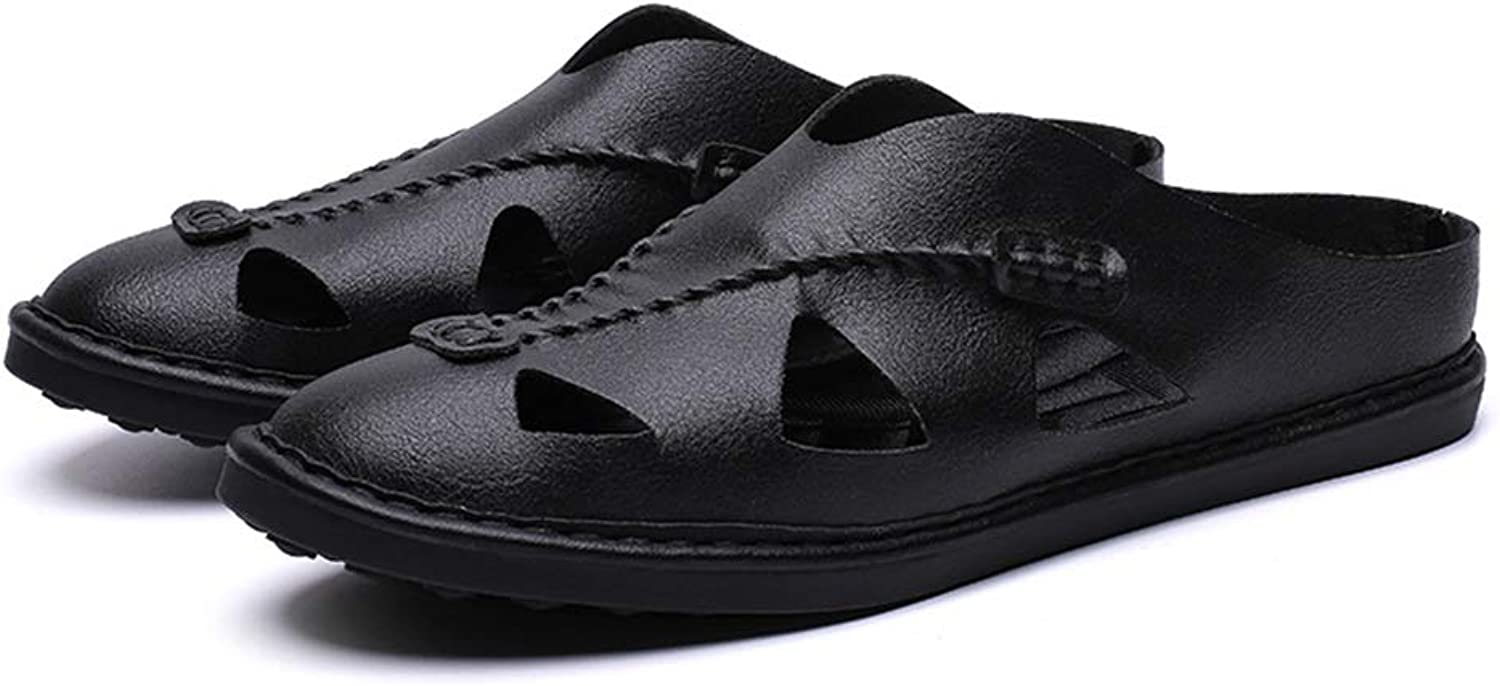 Fashion Men's Hot Summer Slipper Closed Toes Microfiber Leather Handmade Sewing Antislip Walking shoes Men's Boots (color   Black, Size   9 UK)