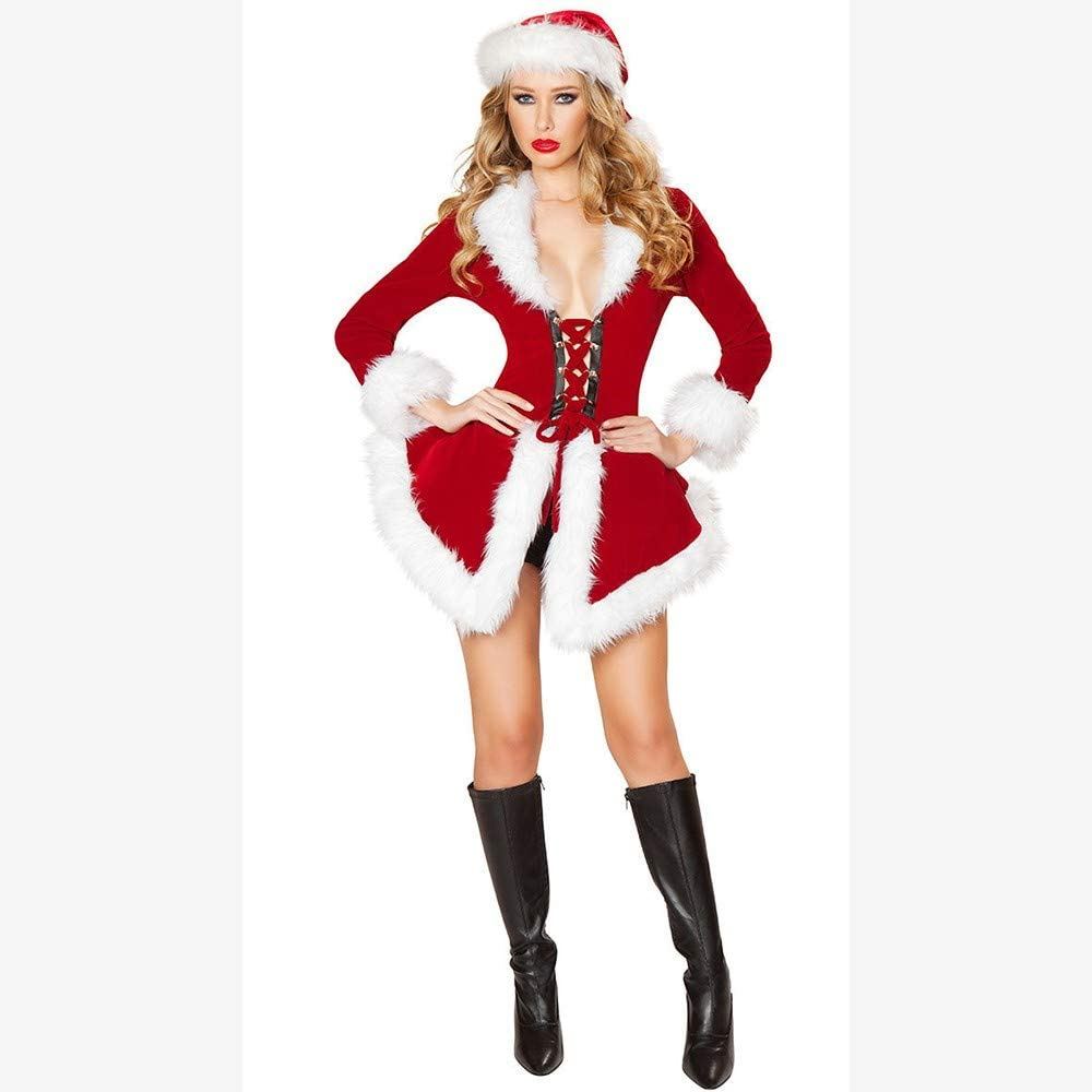 Amazon Com Lzhtb Santa Costume Women New Cloak Long Sleeve Christmas Costumes Low Collar Chest Strap Evening Dress Festival Performance Game Clothes Red Sexy Mini Skirt With Cap Soft Comfortable Home Kitchen