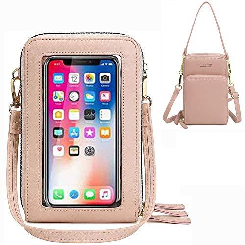 Crossbody - Monedero para mujer para pantalla táctil con bloqueo RFID, bolso de hombro, bandolera para mujer con tarjetero para iPhone 11 XR X 8 7 Plus, Huawei Samsung de hasta 6,5 pulgadas